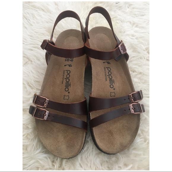 e525ce6af7a Birkenstock Shoes - Birkenstock Papillio Lana Cognac Wedge Sandals